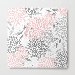 Floral Prints, Leaves and Blooms, Soft Pink, Gray and White Metal Print