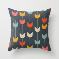 tulips Throw Pillows featuring Tulips by Tracie Andrews