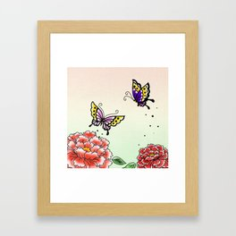 Two peony and two butterflies~牡丹と蝶々~ Framed Art Print