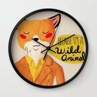 golden Wall Clocks featuring Because I'm a Wild Animal by Nan Lawson