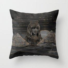Cleopatra on Egyptian pyramids landscape Throw Pillow