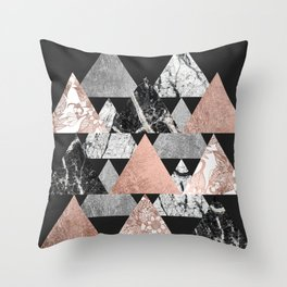Marble Rose Gold Silver and Floral Geo Triangles Throw Pillow