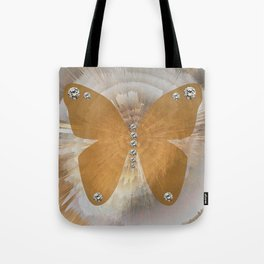 Golden Butterfly with Diamonds Tote Bag