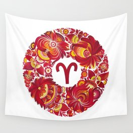 Aries in Petrykivka Style (without artist's signature/date) Wall Tapestry