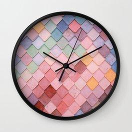 Pink Tiles (Color) Wall Clock