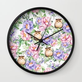 Watercolor hand painted pink lavender brown floral cute owl pattern Wall Clock