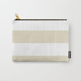 Wide Horizontal Stripes - White and Pearl Brown Carry-All Pouch