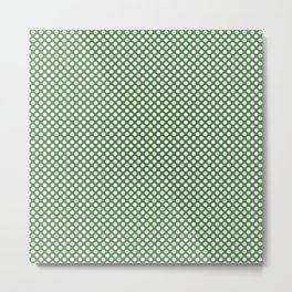 Hippie Green and White Polka Dots Metal Print