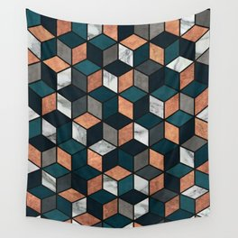 Copper, Marble and Concrete Cubes with Blue Wall Tapestry