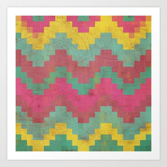 Aztec Vintage Pattern 01 Art Print