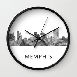 Memphis, Tennessee Skyline WB BW Wall Clock