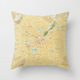 Santiago Chile Map (1987) Throw Pillow