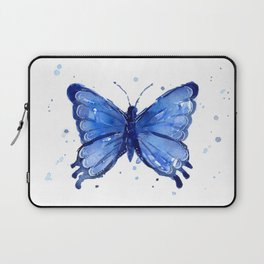 Butterfly Blue Watercolor Animal Painting Laptop Sleeve