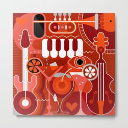 Music and Cocktail Party Metal Print