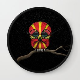 Baby Owl with Glasses and Macedonian Flag Wall Clock