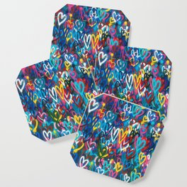 Graffiti Hearts Love (Color) Coaster