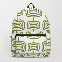 Mid Century Modern Atomic Rings Pattern Olive Green 3 Backpack