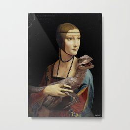 Lady with a Velociraptor Metal Print