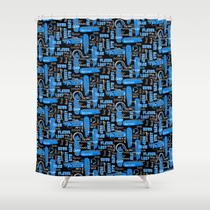 Gamer Lingo-Black and Blue Shower Curtain