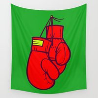boxing Wall Tapestries featuring Boxing Gloves by Artistic Dyslexia