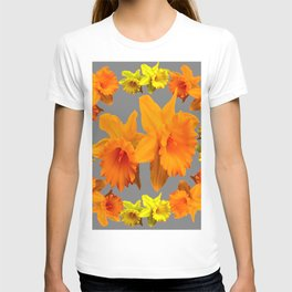 YELLOW-GOLD SPRING DAFFODILS & CHARCOAL GREY COLOR T-shirt