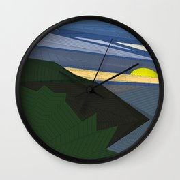 Psychedelic Magic landscap with stylised mountains, sea and yellow Sun. Wall Clock