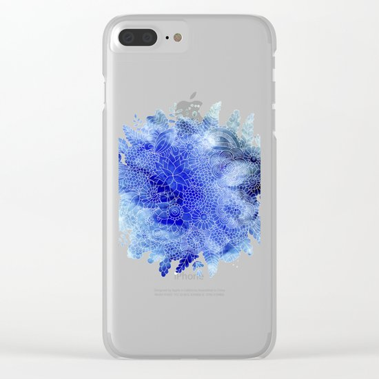 Blue Floral Pattern 03 Clear iPhone Case