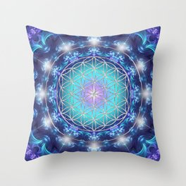 Flower Of Life Mandala Fractal turquoise Throw Pillow