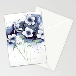 Anemones under Moonlight Watercolor Art  Stationery Cards