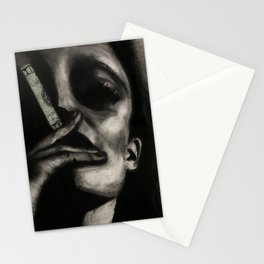 WARNING: CONSUMERISM KILLS // Charcoal Portrait of Woman Smoking $ //  Stationery Cards