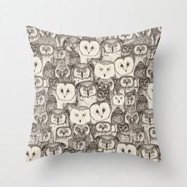 just owls natural Throw Pillow
