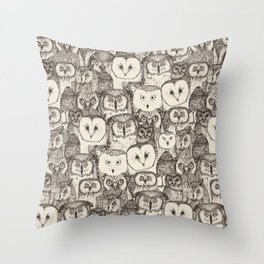 just owls natural Throw Pillow