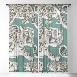Snow leopard in green Sheer Curtain