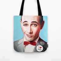 pee wee Tote Bags featuring Pee-Wee Herman Is Back by lensebender