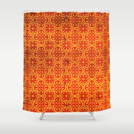 N67 - Yellow & Red Vintage Antique Geometric Traditional Moroccan Style. Shower Curtain