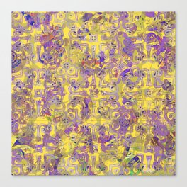 Yellow and Purple Moroccan Grunge Canvas Print
