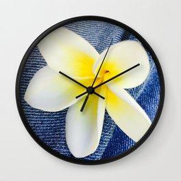 Denim Frangipani Natural Light Wall Clock
