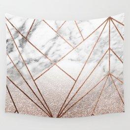 Rose glitter rising geo Wall Tapestry