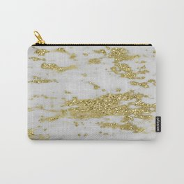 Marble - Glittery Gold Marble on White Design Carry-All Pouch
