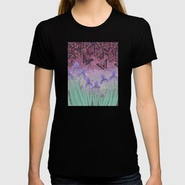 butterflies dance in purple skies above irises T-shirt