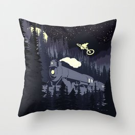 Over The Train Throw Pillow