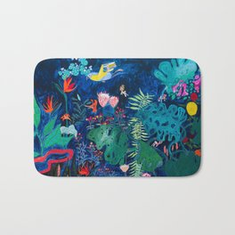 Brightly Rainbow Tropical Jungle Mural with Birds and Tiny Big Cats Bath Mat