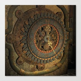 Steampunk, awesome clock, rusty metal Canvas Print