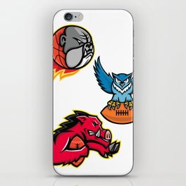 American Football and Basketball Wildlife Sports Mascot Collection iPhone Skin