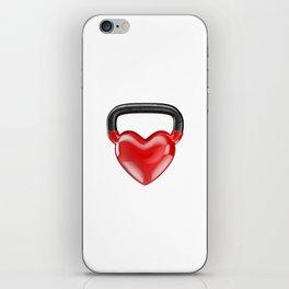 Kettlebell heart vinyl / 3D render of heavy heart shaped kettlebell iPhone Skin