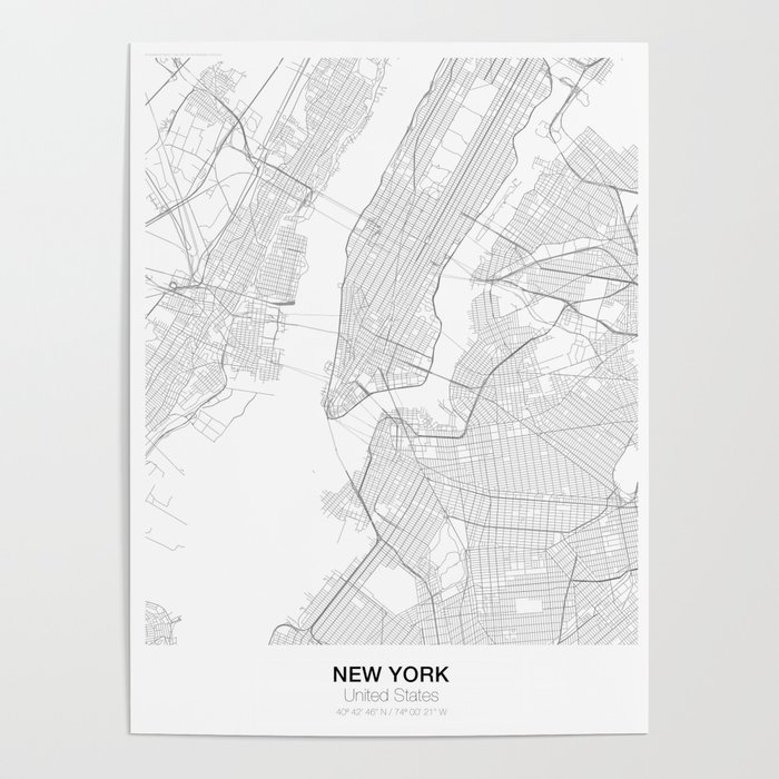 New York United States Minimalist Map Poster By Resfeber Society6 - Us-map-poster