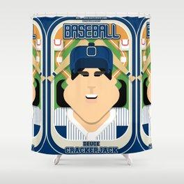 Baseball Blue Pinstripes - Deuce Crackerjack - Amy version Shower Curtain