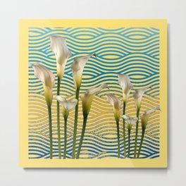WHITE CALLA LILIES BLUE-YELLOW WATER ART Metal Print