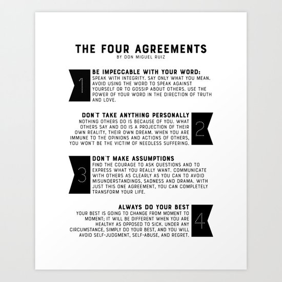 The Four Agreements By Don Miguel Ruiz Art Print By Graphicbicycle