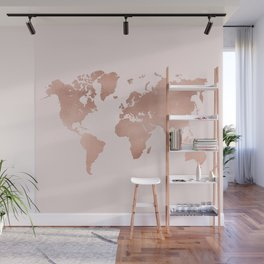 Rose Gold World Map Wall Mural